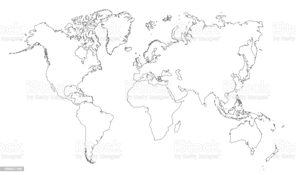 World Map Outline Stock Vector Art More Images Of 2015 468621166