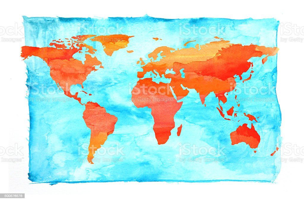 World map painted with watercolors blue and orange stock vector art world map painted with watercolors blue and orange royalty free world map painted with gumiabroncs Choice Image