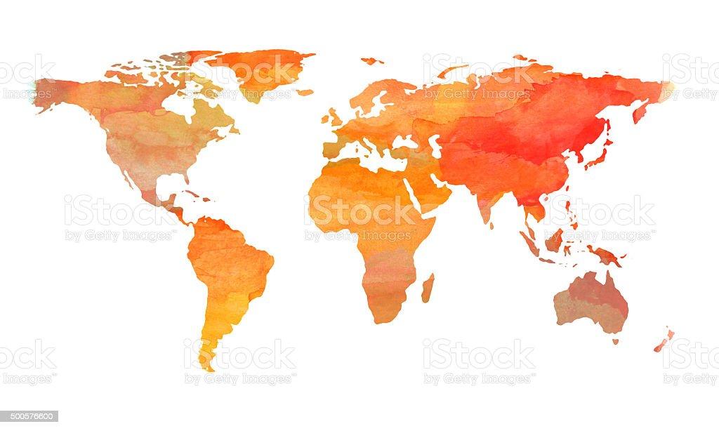 Mapa mundial con watercolors, pintado marrón y naranja - ilustración de arte vectorial