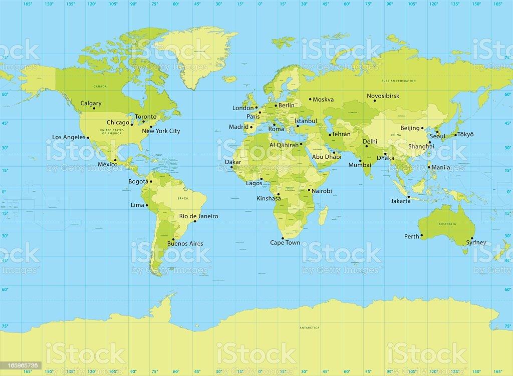 World Map Vector Miller Projection vector art illustration