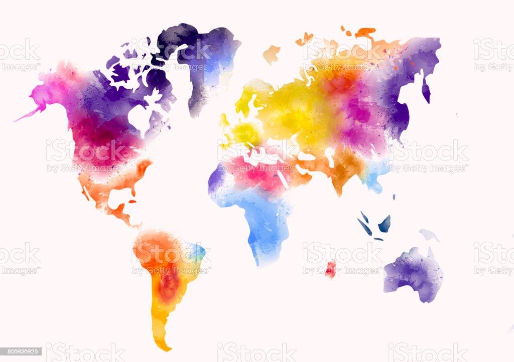 Dünya Harita Suluboya Boya Stok Vektör Sanatı Abdnin Daha Fazla