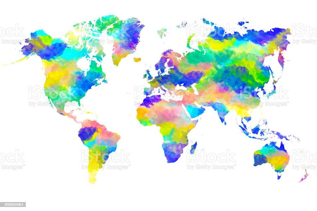 Dünya Harita Suluboya Boya Taze Açık Canlı Ve Parlak Renk Teması