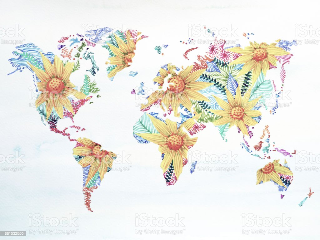 World Map Watercolor Painting Hand Drawn Flower Floral Artwork Design Illustration Royalty Free