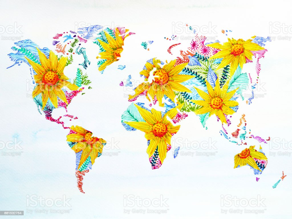 World map watercolor painting hand drawn flower floral artwork world map watercolor painting hand drawn flower floral artwork design illustration royalty free world map gumiabroncs Gallery