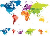 World map with different colored continents and named countries