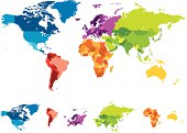 Vector of highly detailed world map - each continent has its own labeled layer - all colors are global for easy edit