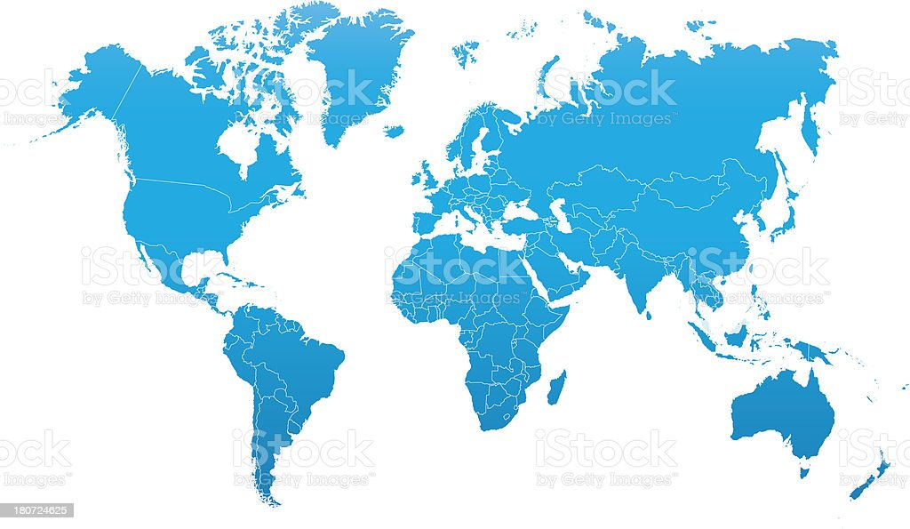 world map with national borders royalty-free stock vector art