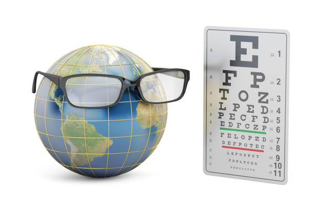 World Sight Day concept, eyeglasses with Earth globe and eye test chart. vector art illustration