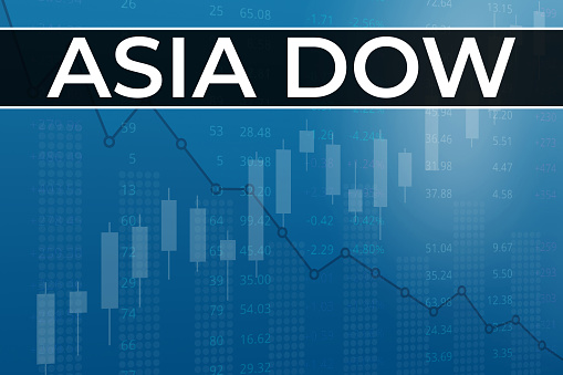 World stock market index Asia Dow USD (ticker ADOW) on blue financial background from numbers, graphs, pillars, candles. Trend Up and Down, Flat. 3D illustration. Stock market concept.