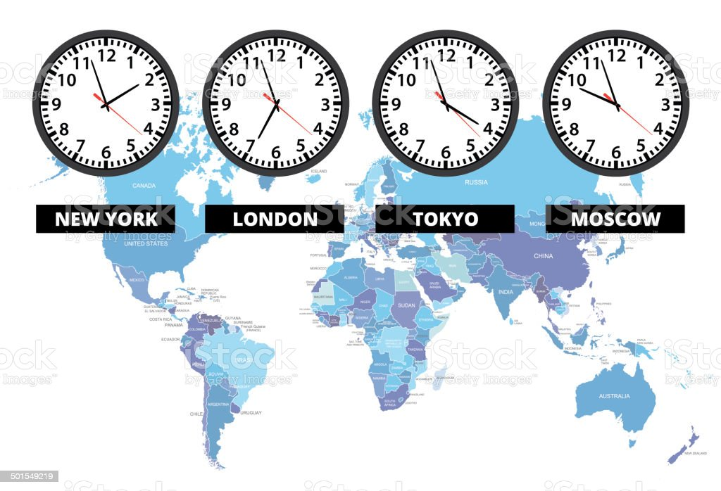 Map Of England Time Zones.World Time Zone Clocks With Map Stock Vector Art More Images Of