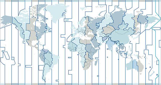 bildbanksillustrationer, clip art samt tecknat material och ikoner med world time zones - tidszon