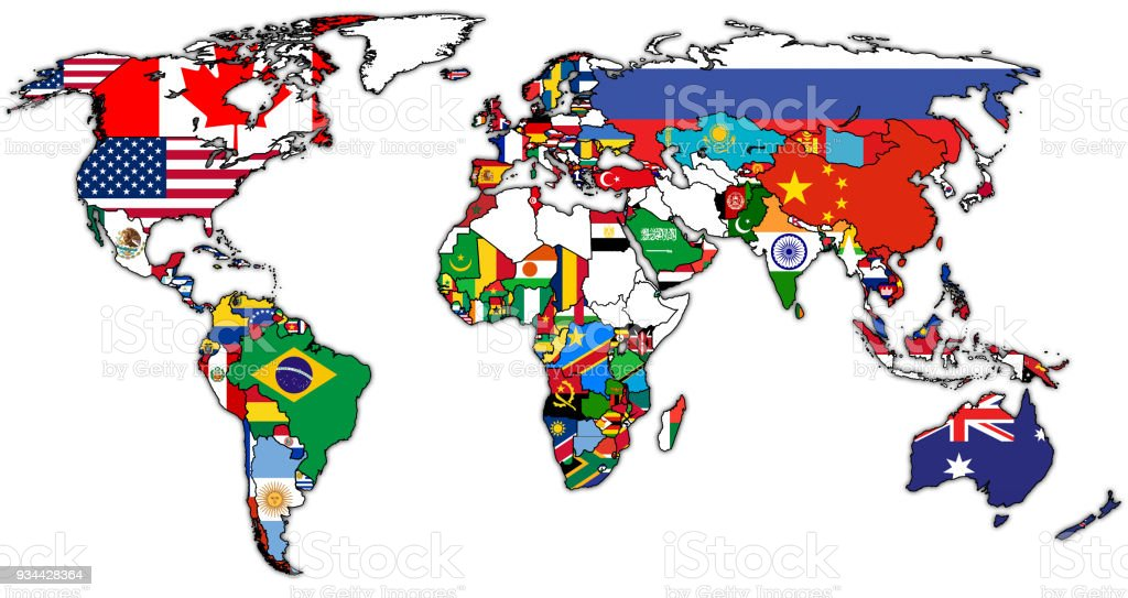 World trade organization member countries flags on world map stock world trade organization member countries flags on world map royalty free world trade organization member gumiabroncs Choice Image