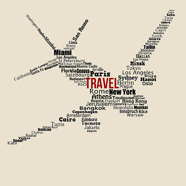 world travel concept made with words on airplane - travel agent stock illustrations, clip art, cartoons, & icons