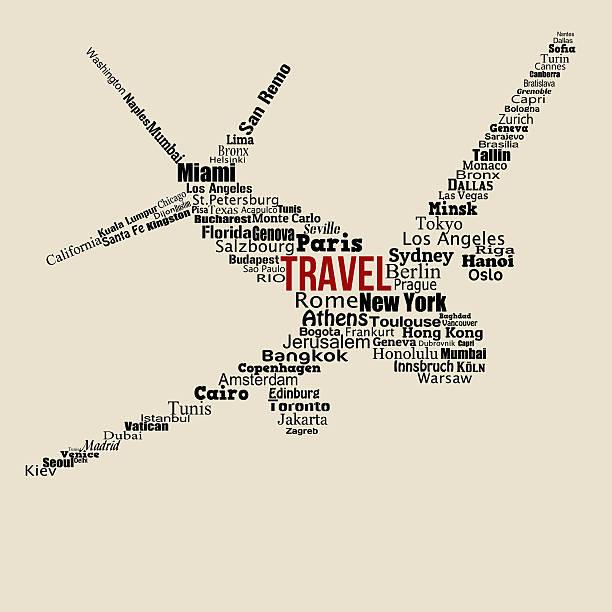 World travel concept conçu avec des mots sur avion - Illustration vectorielle
