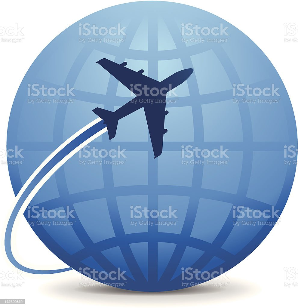 World Travel Airplane travel around the globe to international destinations. Airplane stock vector