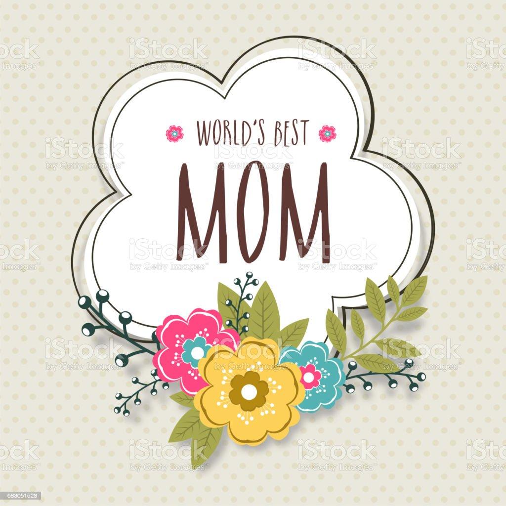 Weltweit Beste Mama Text In Rahmen Mit Bunten Blumen Elegante ...