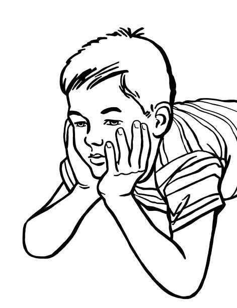Line Drawing Of Child S Face : Royalty free bored kid clip art vector images