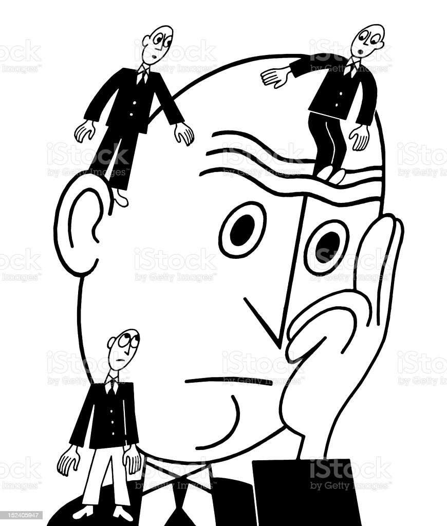 Worried Man With Three Small Men royalty-free stock vector art