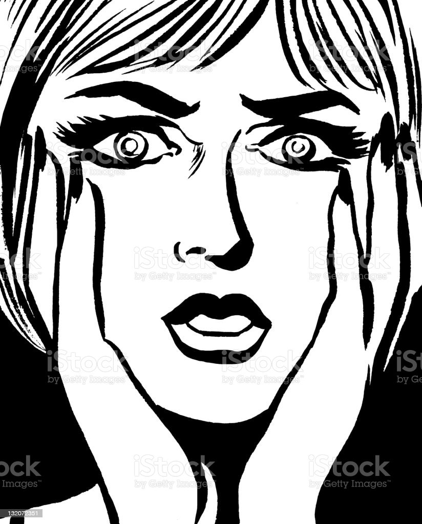 Worried Woman With Hands on Her Face royalty-free stock vector art