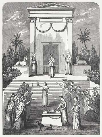 Worship of Isis, after a wall-painting,  Pompeii, Italy, published 1886