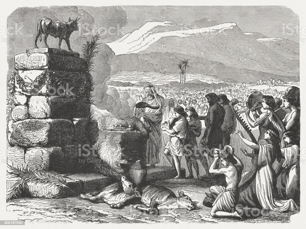 Worship of the Golden Calf (Exodus 32), published in 1886 vector art illustration