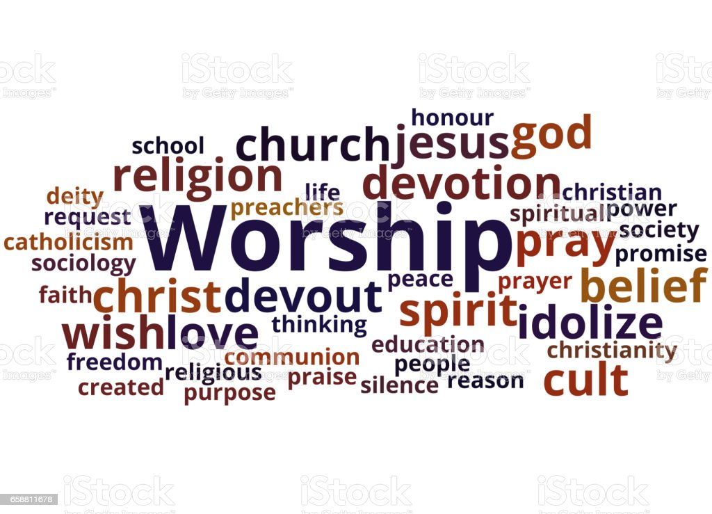 Worship Word Cloud Concept 2 Stock Illustration - Download