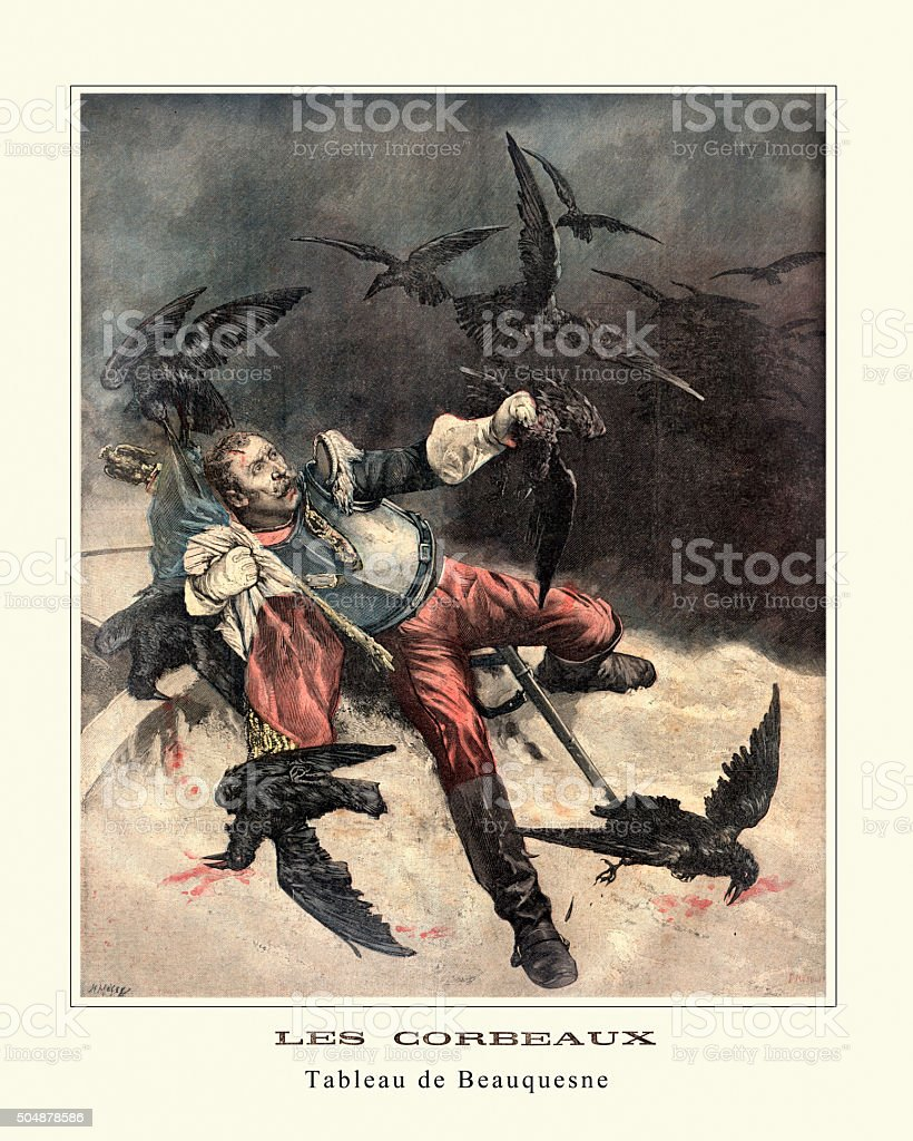 Wounded Solider and the Crows - Les Corbeaux vector art illustration