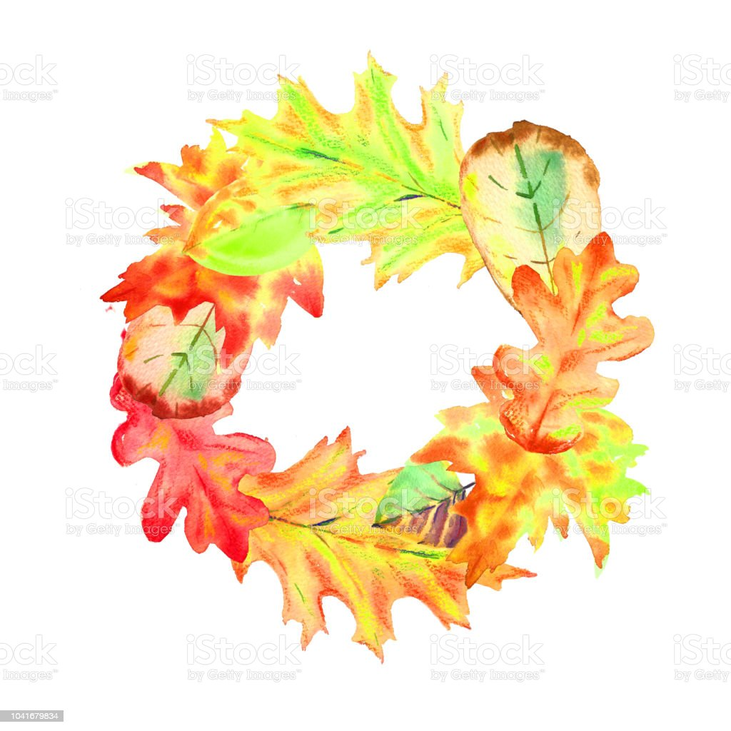 Guirlande de différent sec aquarelle jaune rouge automne feuilles.  guirlande de différent sec aquarelle jaune b919f430db08