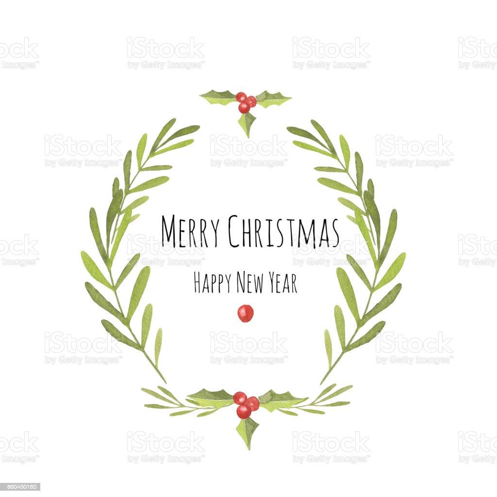 Wreath made of handdrawn watercolor mistletoe and holly stock wreath made of hand drawn watercolor mistletoe and holly royalty free wreath made buycottarizona Image collections