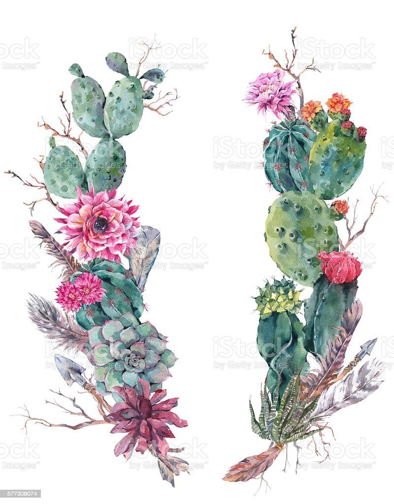 Wreath Of Flowers Bouquet With Cactus Succulent Stock Vector Art ...