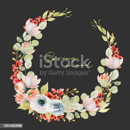 istock Wreath of watercolor spring plants: tender pink and red wildflowers, greenery and eucalyptus branches; hand painted isolated illustrations on a dark background 1304580996