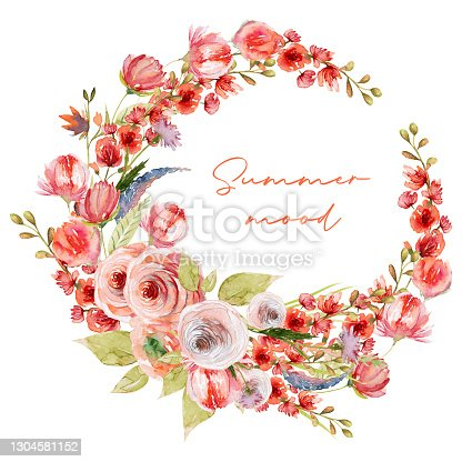 istock Wreath of watercolor summer plants, red roses and wildflowers; hand painted isolated illustrations on a white background 1304581152