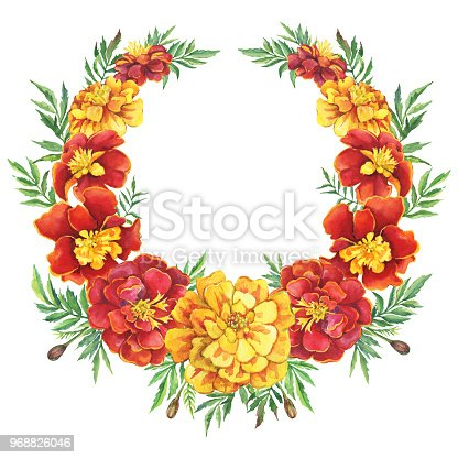 Wreath Round Frame With A Red Yellow Flowers Tagetes Patula The