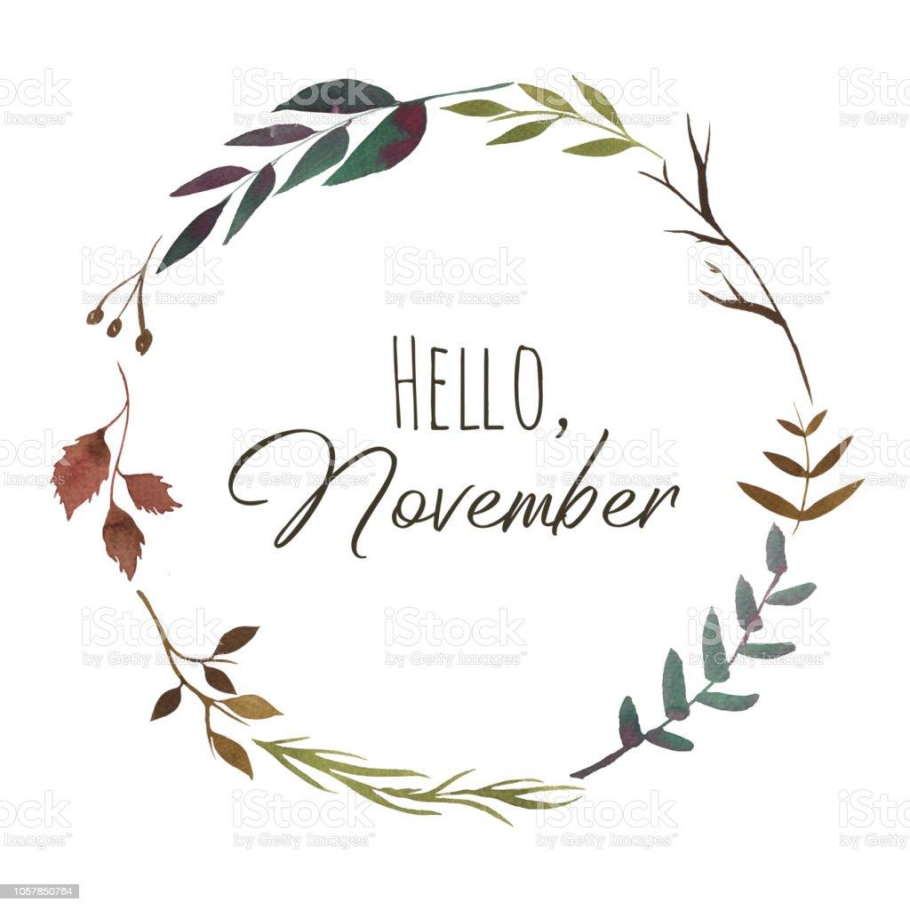 秋の紅葉とハーブのリースこんにちは 11 月のテキスト植物のイラスト本物の水彩画 お祝いのベクターアート素材や画像を多数ご用意 Istock