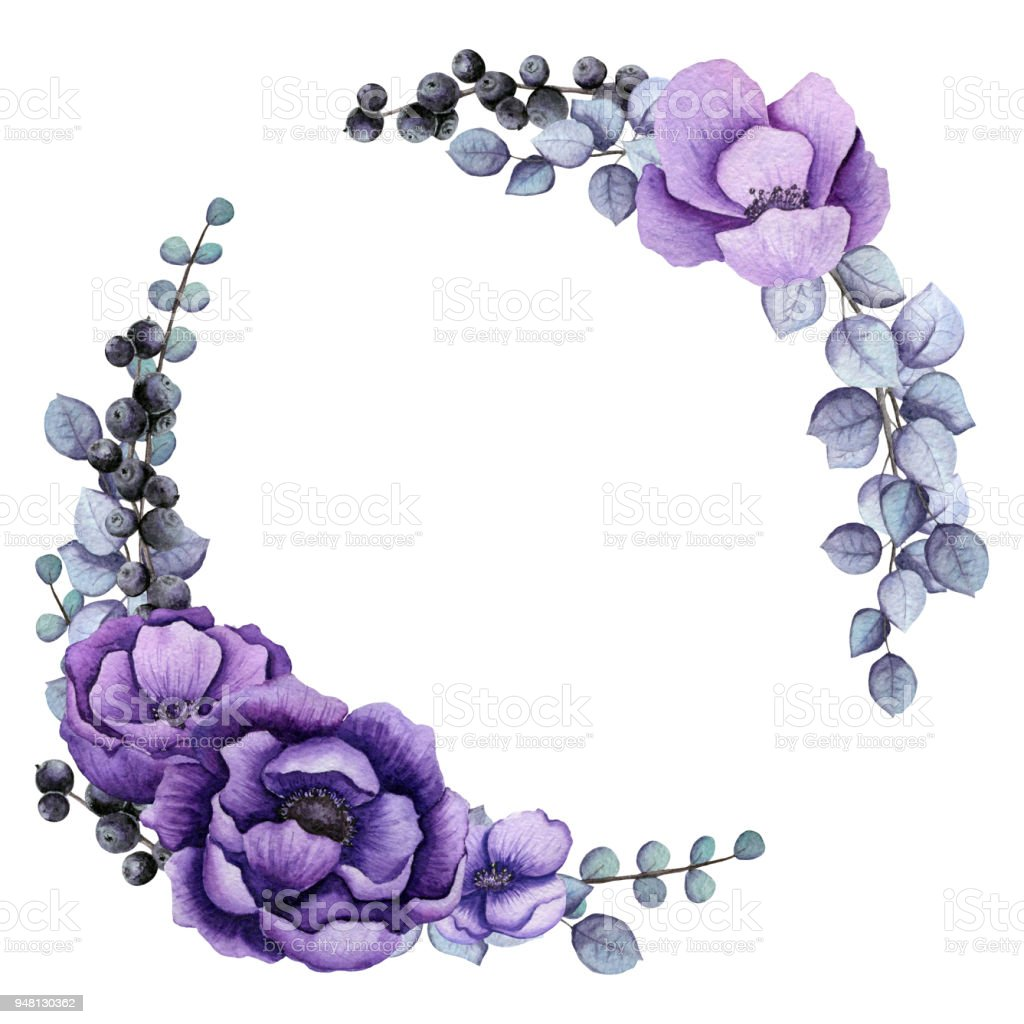 Wreath With Blue Leaves And Violet Flowers Stock Vector Art More