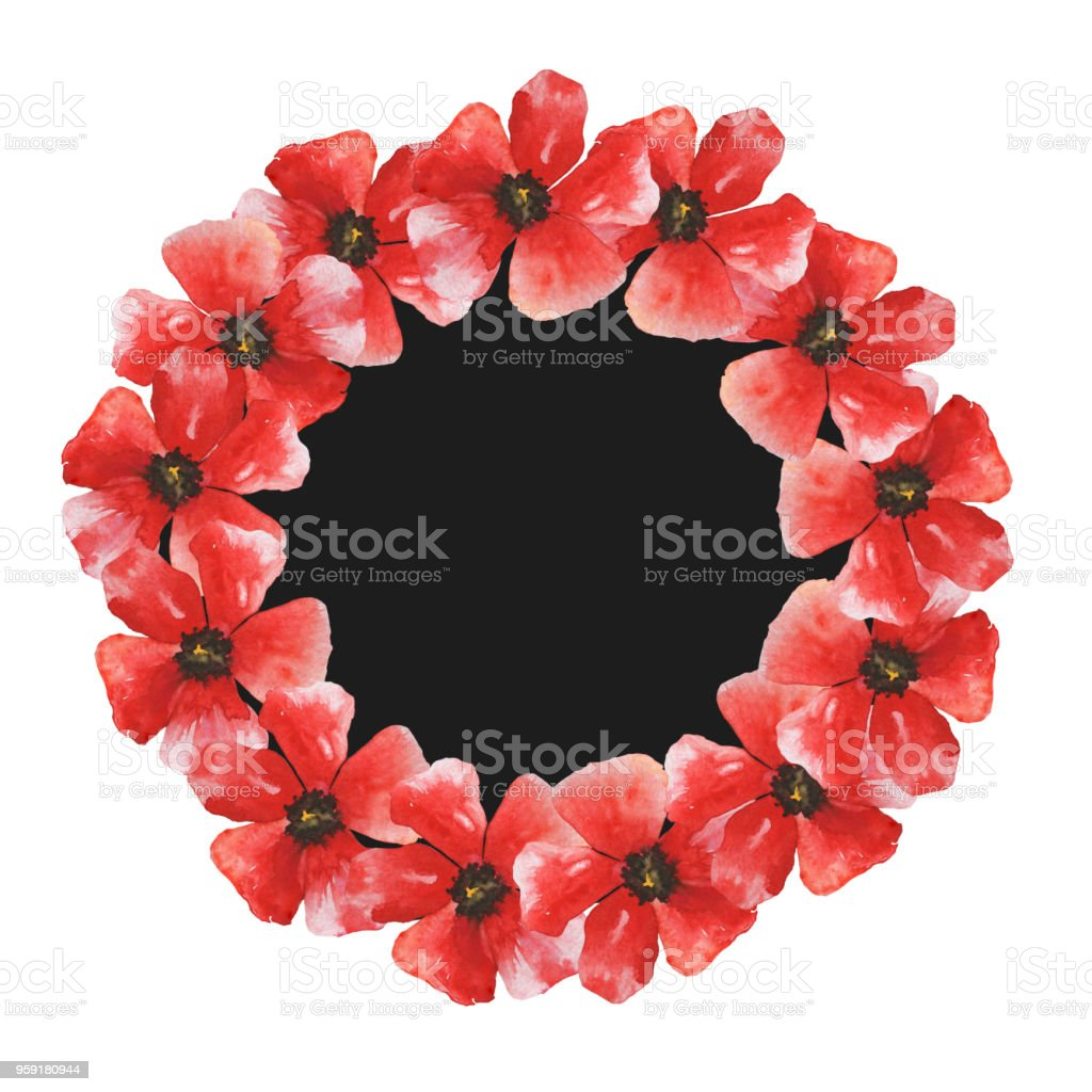 Wreath With Red Poppy Flowers Frame Template Royalty Free