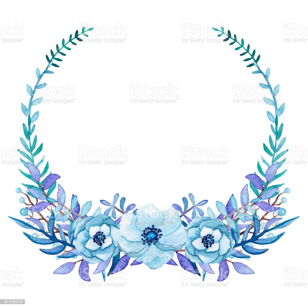 Wreath with watercolor blue flowers and leaves stock vector art wreath with watercolor blue flowers and leaves royalty free wreath with watercolor blue flowers and izmirmasajfo