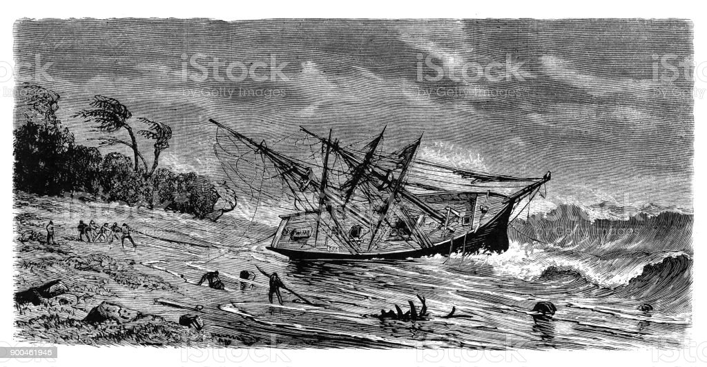Wreck of sailing ship Maria Luisa stranded near Island of Carabao, Philippines vector art illustration