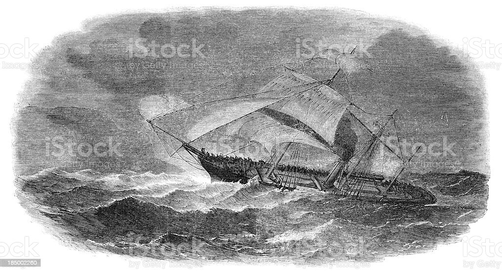 Wreck of ship 'Larriston' in the China Seas (1853 engraving) vector art illustration