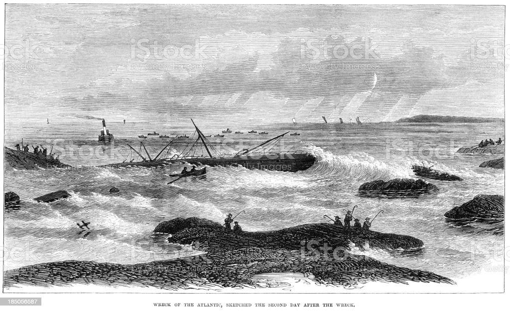 Wreck of the 'Atlantic' off Nova Scotia, 1873 royalty-free stock vector art