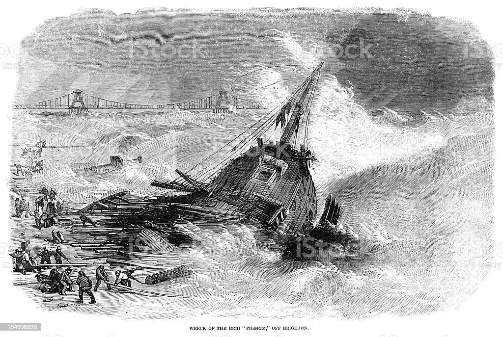 Wreck  of the brig 'Pilgrim' off Brighton (1857 engraving ILN) royalty-free stock vector art