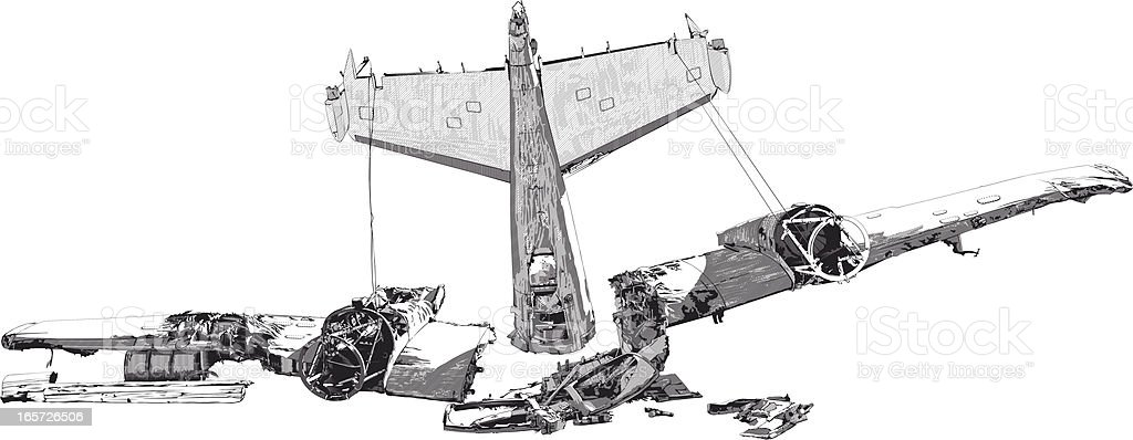 Wreckage from a plane crash vector art illustration
