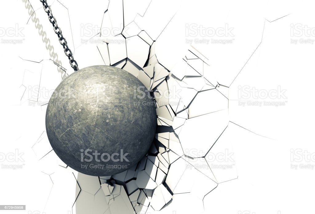 Wrecking Ball Shattering The White Wall Stock Vector Art