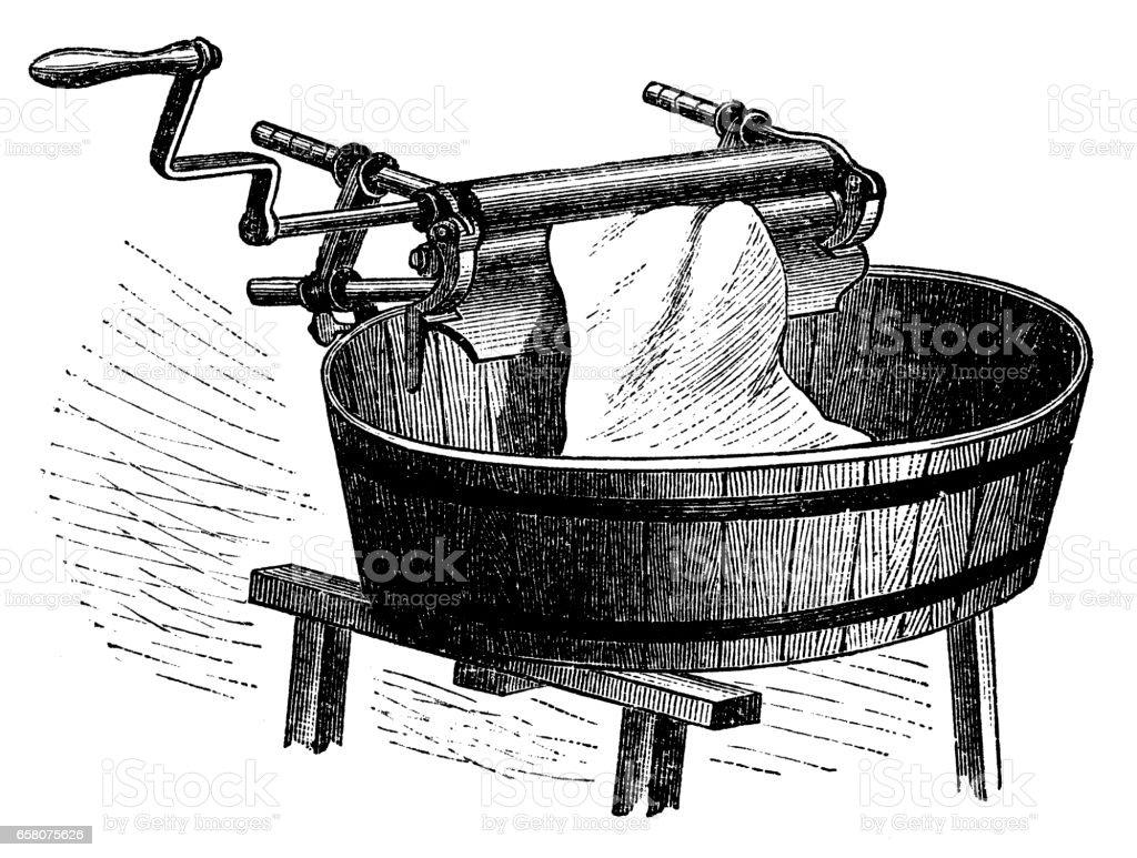 Wringer ,wet clothes dryer vector art illustration