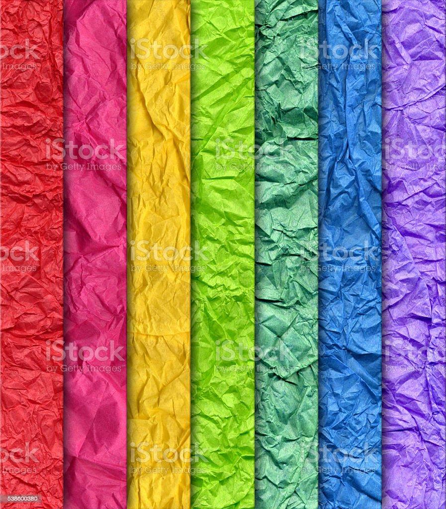 wrinkled rainbow paper background vector art illustration