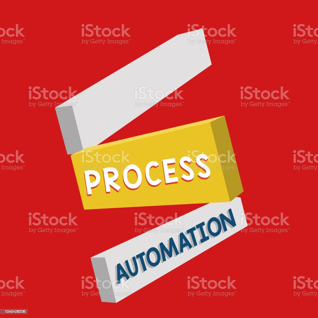 Writing note showing Process Automation. Business photo showcasing Transformation Streamlined Robotic To avoid Redundancy vector art illustration