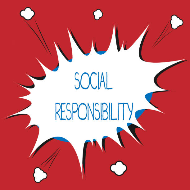 Writing note showing Social Responsibility. Business photo showcasing Obligation for the Benefit of Society Balance in life vector art illustration