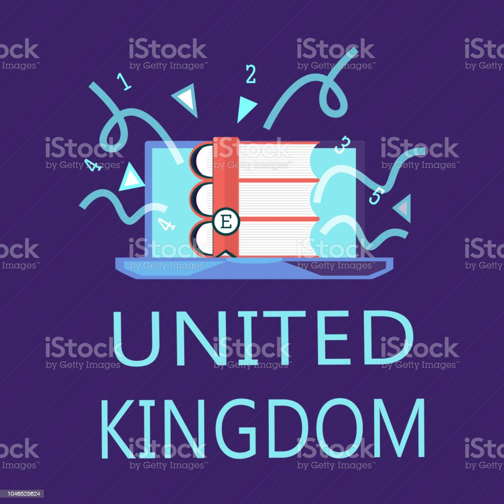 Writing note showing United Kingdom. Business photo showcasing Island country located off the northwestern coast of Europe vector art illustration