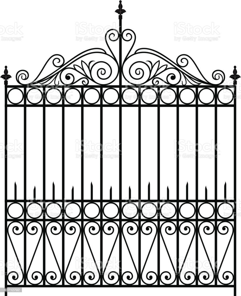 Wrought iron gate stock vector art more images of angle