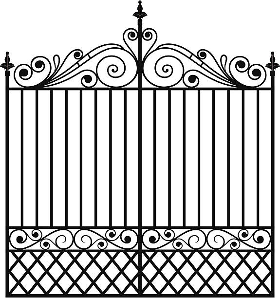 Wrought Iron Gate (Vector)  gate stock illustrations